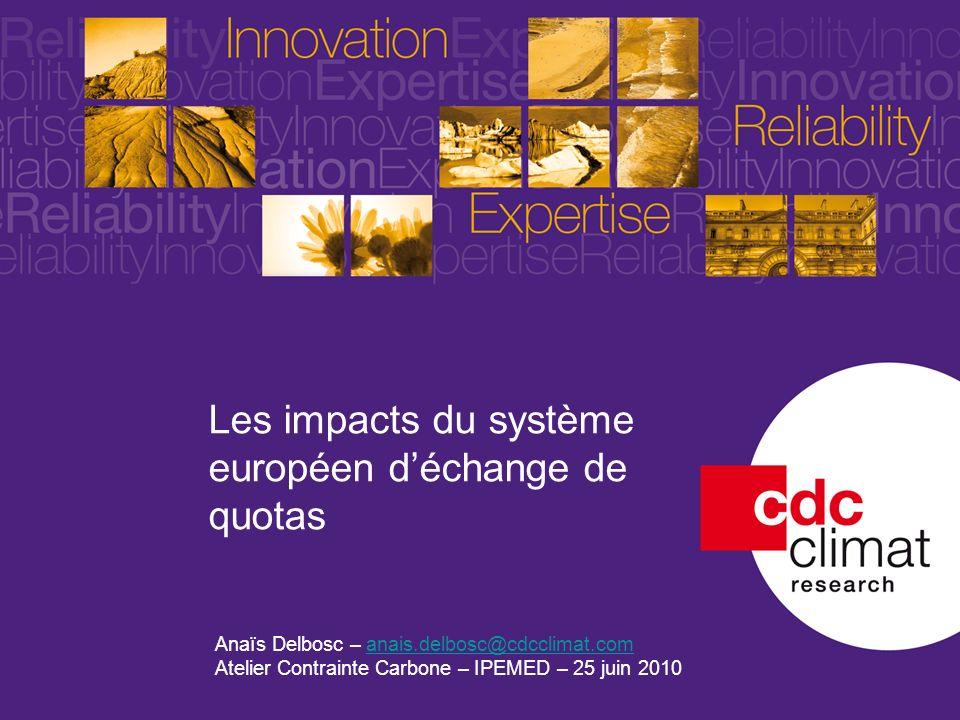 1 Les impacts du système européen déchange de quotas Anaïs Delbosc – anais.delbosc@cdcclimat.comanais.delbosc@cdcclimat.com Atelier Contrainte Carbone