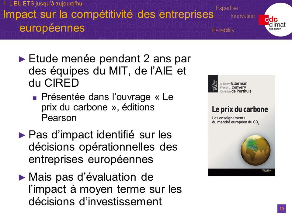 10 1. LEU ETS jusquà aujourdhui Impact sur la compétitivité des entreprises européennes Etude menée pendant 2 ans par des équipes du MIT, de lAIE et d