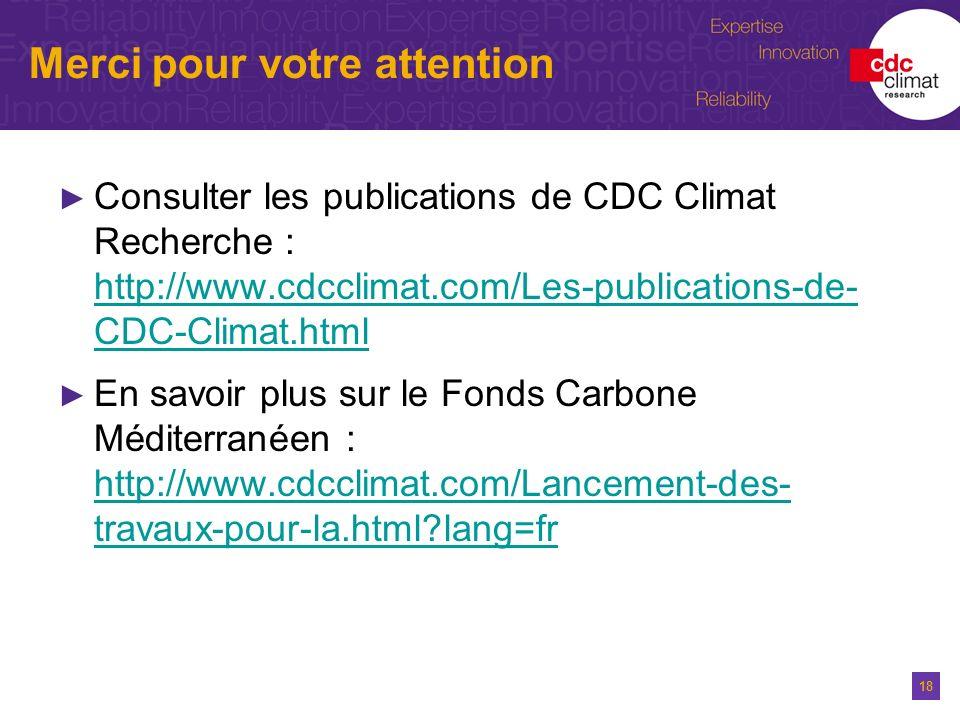 18 Merci pour votre attention Consulter les publications de CDC Climat Recherche : http://www.cdcclimat.com/Les-publications-de- CDC-Climat.html http: