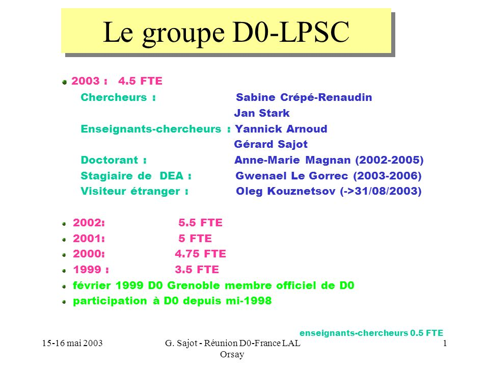 15-16 mai 2003G. Sajot - Réunion D0-France LAL Orsay 1 2003 : 4.5 FTE Chercheurs : Sabine Crépé-Renaudin Jan Stark Enseignants-chercheurs : Yannick Ar