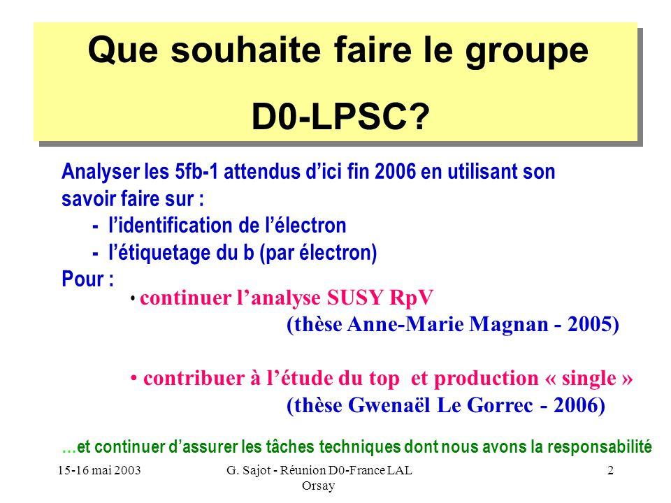 15-16 mai 2003G. Sajot - Réunion D0-France LAL Orsay 2 Que souhaite faire le groupe D0-LPSC? Que souhaite faire le groupe D0-LPSC? continuer lanalyse