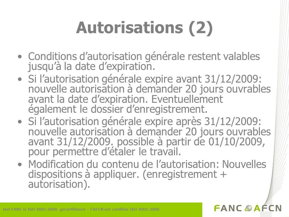 Autorisations (2) Het FANC is ISO 9001:2000 gecertifieerd – lAFCN est certifiée ISO 9001:2000 Conditions dautorisation générale restent valables jusquà la date dexpiration.