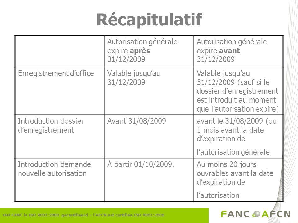 Récapitulatif Het FANC is ISO 9001:2000 gecertifieerd – lAFCN est certifiée ISO 9001:2000 Autorisation générale expire après 31/12/2009 Autorisation générale expire avant 31/12/2009 Enregistrement dofficeValable jusquau 31/12/2009 Valable jusquau 31/12/2009 (sauf si le dossier denregistrement est introduit au moment que lautorisation expire) Introduction dossier denregistrement Avant 31/08/2009avant le 31/08/2009 (ou 1 mois avant la date dexpiration de lautorisation générale Introduction demande nouvelle autorisation À partir 01/10/2009.Au moins 20 jours ouvrables avant la date dexpiration de lautorisation