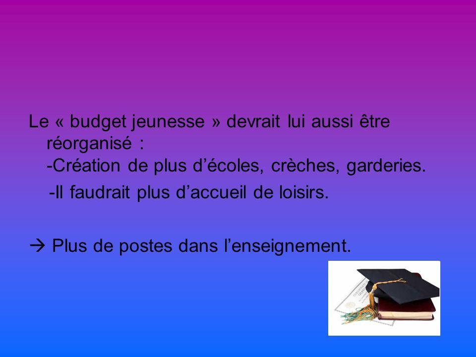 Le « budget jeunesse » devrait lui aussi être réorganisé : -Création de plus décoles, crèches, garderies.