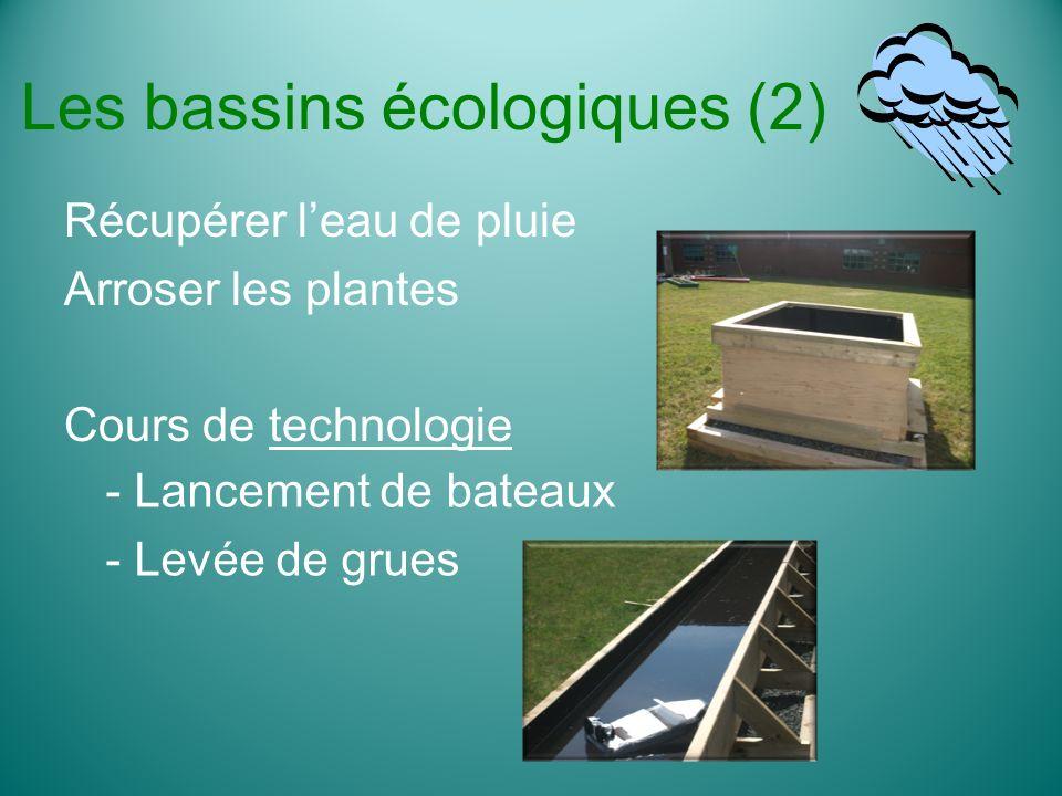Les bassins écologiques (2) Récupérer leau de pluie Arroser les plantes Cours de technologie - Lancement de bateaux - Levée de grues
