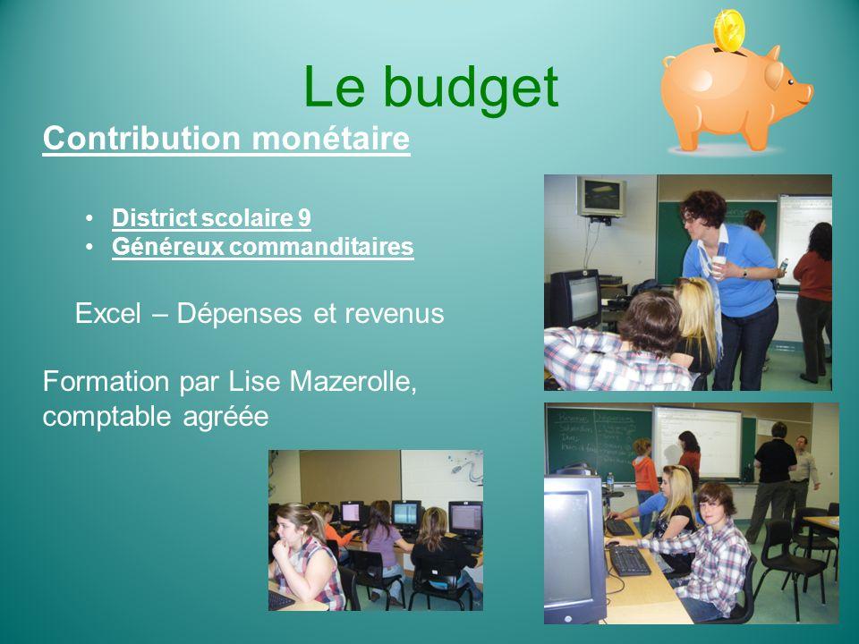 Le budget Contribution monétaire District scolaire 9 Généreux commanditaires Excel – Dépenses et revenus Formation par Lise Mazerolle, comptable agréé
