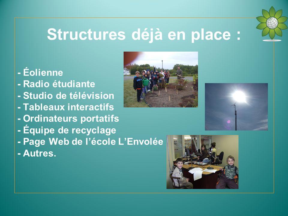 Structures déjà en place : - Éolienne - Radio étudiante - Studio de télévision - Tableaux interactifs - Ordinateurs portatifs - Équipe de recyclage -
