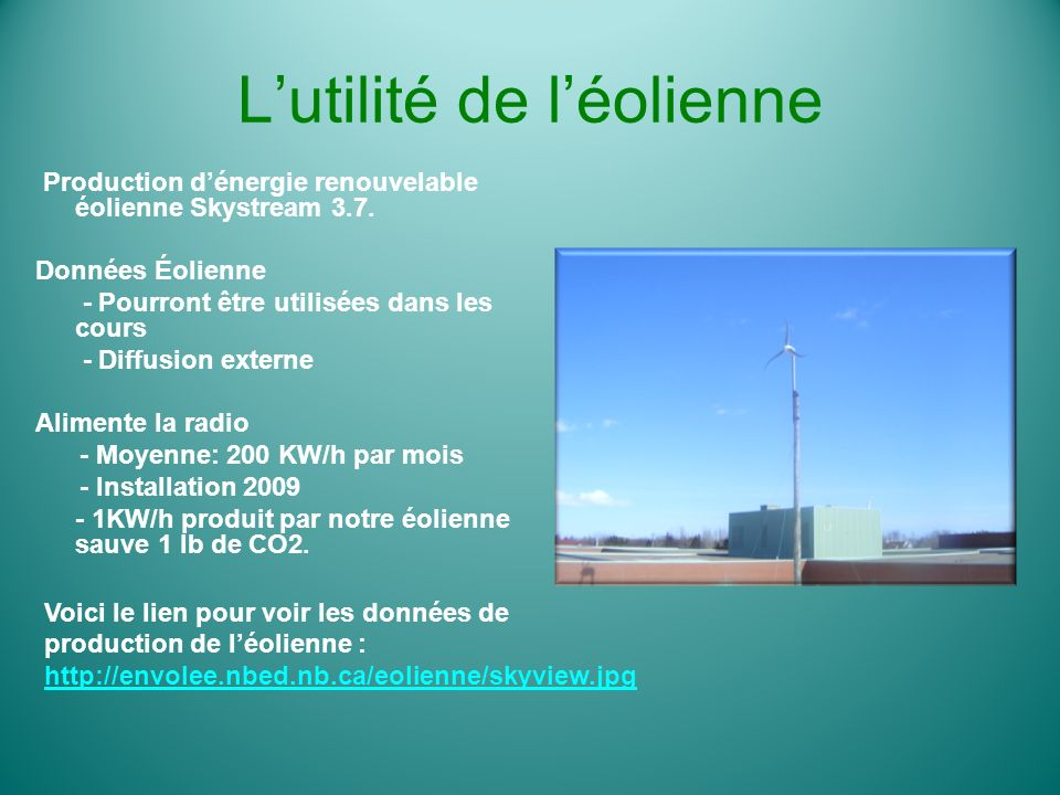 Lutilité de léolienne Production dénergie renouvelable éolienne Skystream 3.7. Données Éolienne - Pourront être utilisées dans les cours - Diffusion e