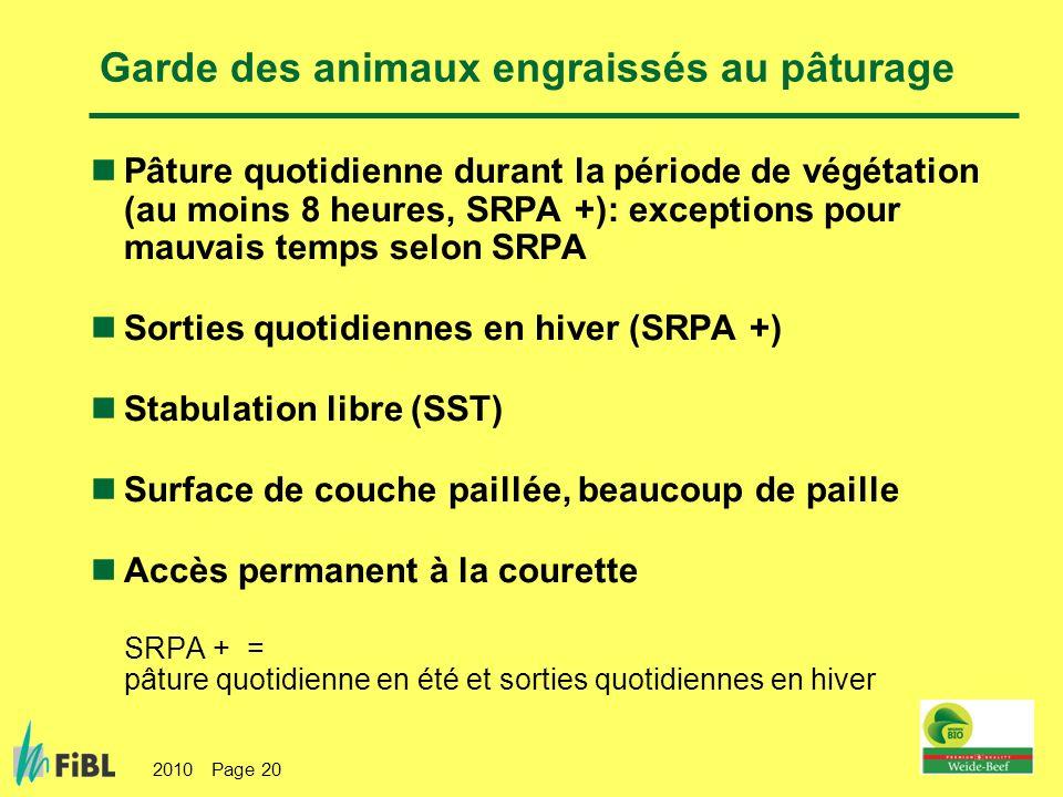 2010 Page 20 Garde des animaux engraissés au pâturage Pâture quotidienne durant la période de végétation (au moins 8 heures, SRPA +): exceptions pour