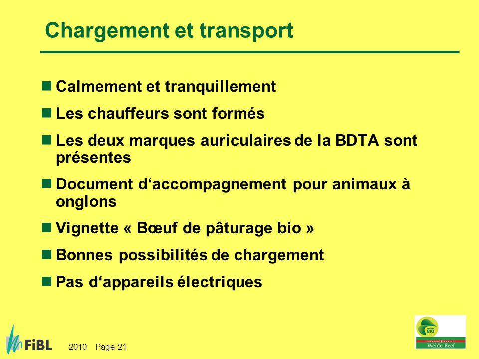 2010 Page 21 Chargement et transport Calmement et tranquillement Les chauffeurs sont formés Les deux marques auriculaires de la BDTA sont présentes Do