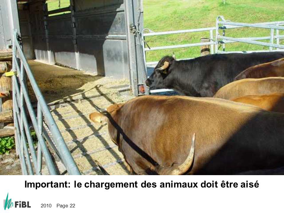 2010 Page 22 Bild: Gute Verlademöglichkeit sind wichtig Important: le chargement des animaux doit être aisé