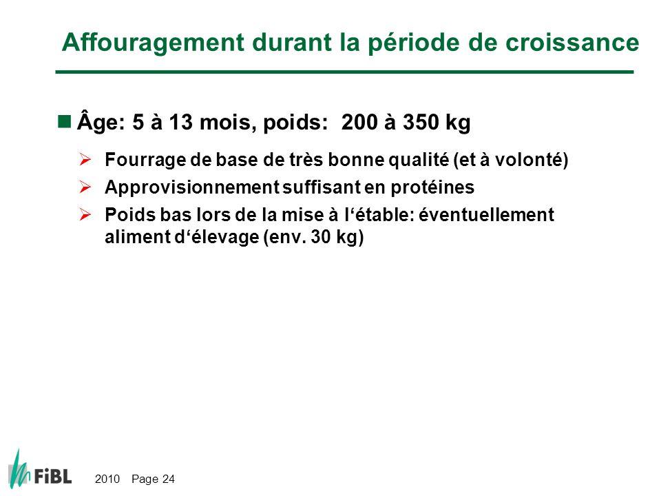 2010 Page 24 Affouragement durant la période de croissance Âge: 5 à 13 mois, poids: 200 à 350 kg Fourrage de base de très bonne qualité (et à volonté) Approvisionnement suffisant en protéines Poids bas lors de la mise à létable: éventuellement aliment délevage (env.