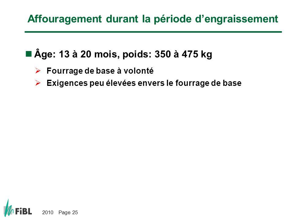 2010 Page 25 Affouragement durant la période dengraissement Âge: 13 à 20 mois, poids: 350 à 475 kg Fourrage de base à volonté Exigences peu élevées envers le fourrage de base