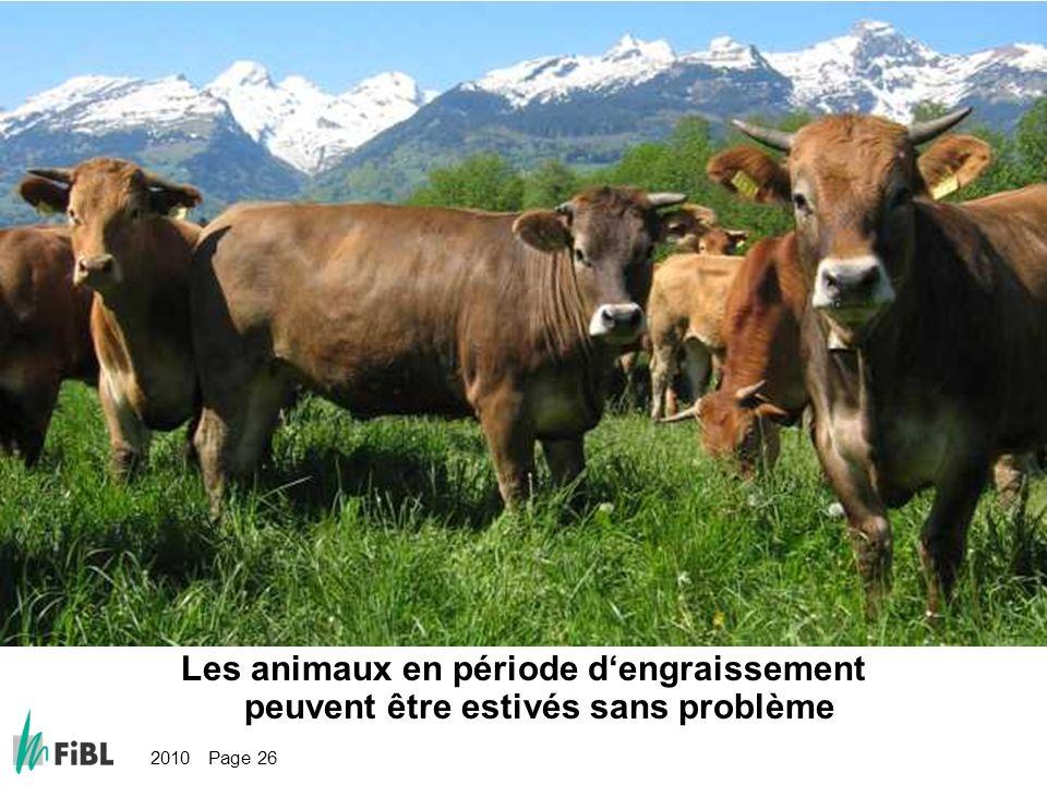 2010 Page 26 Bild: Tiere in der Ansatzphase können problemlos gealpt werden Les animaux en période dengraissement peuvent être estivés sans problème