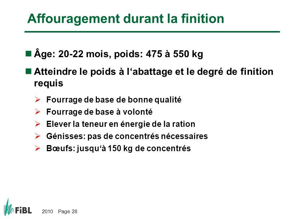 2010 Page 28 Affouragement durant la finition Âge: 20-22 mois, poids: 475 à 550 kg Atteindre le poids à labattage et le degré de finition requis Fourr