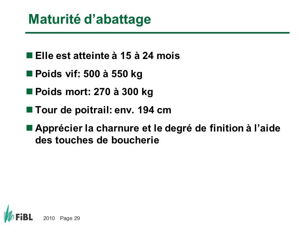 2010 Page 29 Maturité dabattage Elle est atteinte à 15 à 24 mois Poids vif: 500 à 550 kg Poids mort: 270 à 300 kg Tour de poitrail: env. 194 cm Appréc