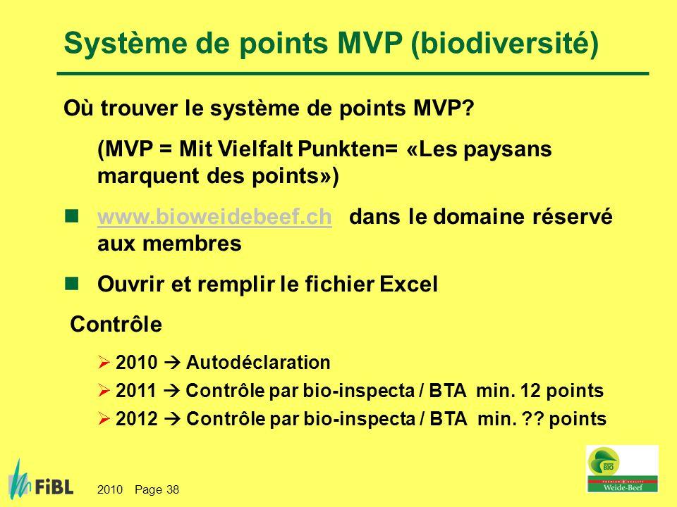 2010 Page 38 Où trouver le système de points MVP? (MVP = Mit Vielfalt Punkten= «Les paysans marquent des points») www.bioweidebeef.ch dans le domaine