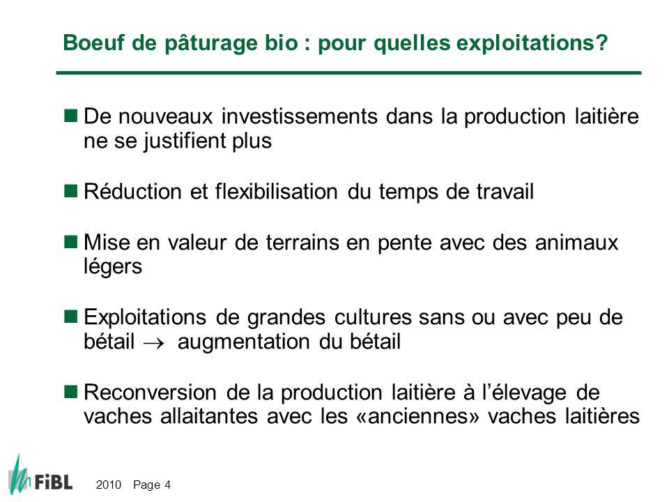 2010 Page 4 Boeuf de pâturage bio : pour quelles exploitations? De nouveaux investissements dans la production laitière ne se justifient plus Réductio