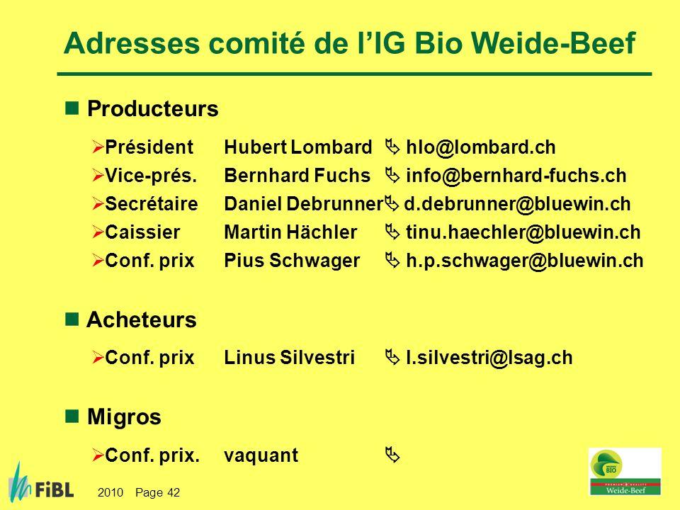 2010 Page 42 Adresses comité de lIG Bio Weide-Beef Producteurs Président Hubert Lombard hlo@lombard.ch Vice-prés. Bernhard Fuchs info@bernhard-fuchs.c