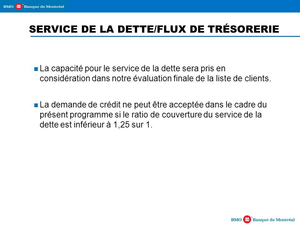 SERVICE DE LA DETTE/FLUX DE TRÉSORERIE La capacité pour le service de la dette sera pris en considération dans notre évaluation finale de la liste de clients.