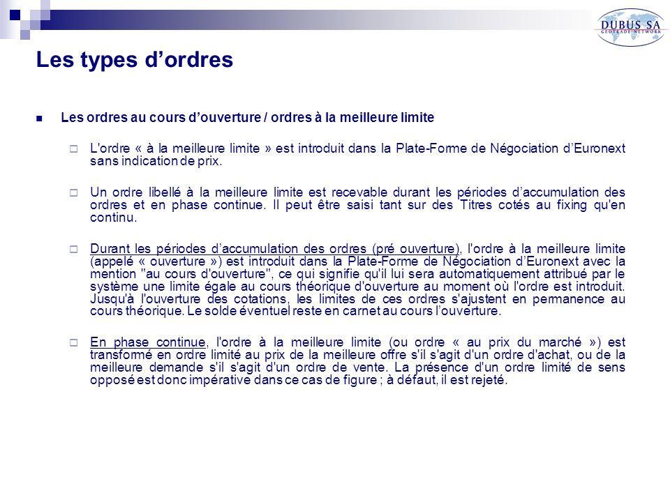 Les types dordres Les ordres au cours douverture / ordres à la meilleure limite L ordre « à la meilleure limite » est introduit dans la Plate-Forme de Négociation dEuronext sans indication de prix.