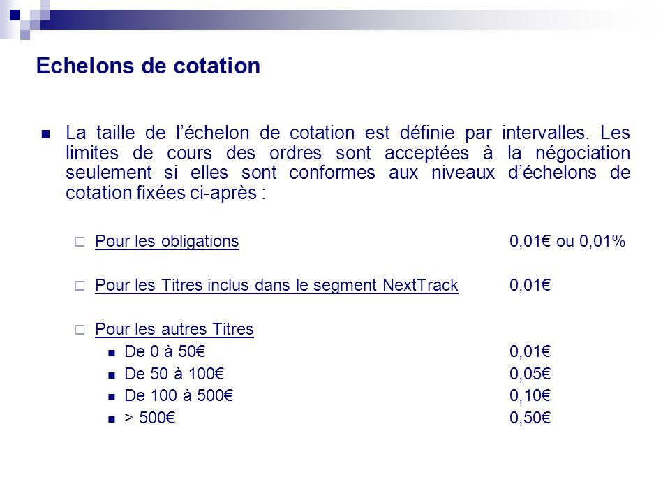 Echelons de cotation La taille de léchelon de cotation est définie par intervalles.