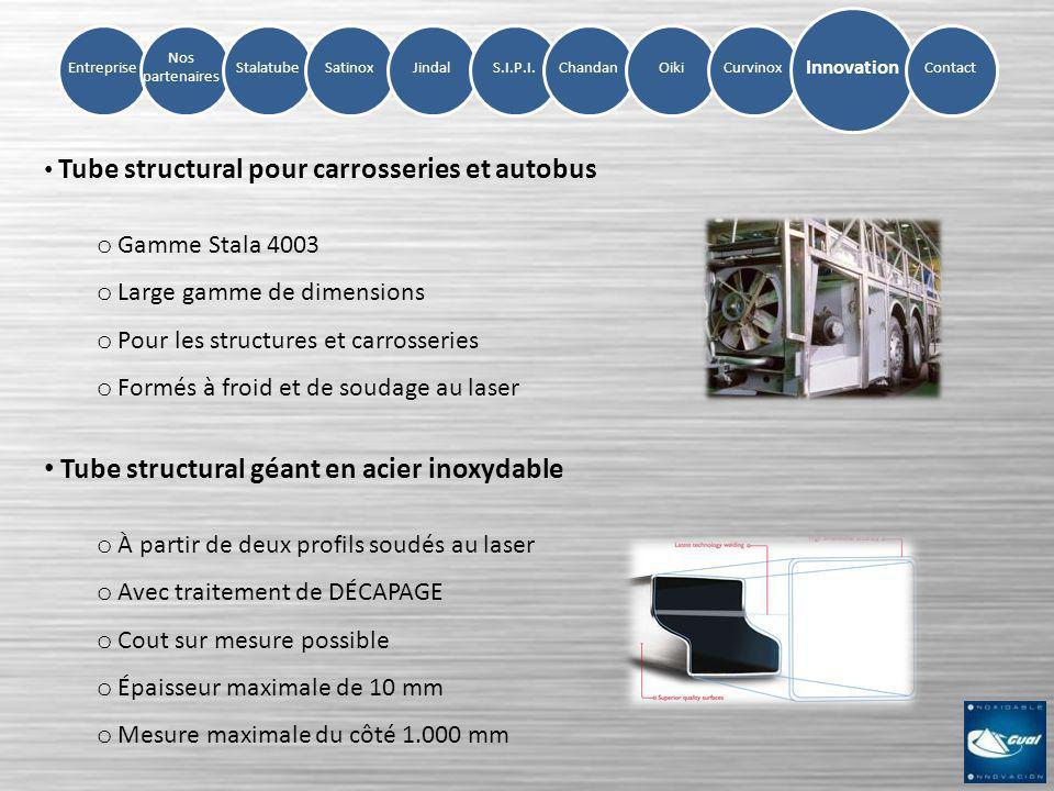 Entreprise Nos partenaires StalatubeSatinoxJindalS.I.P.I.ChandanOikiCurvinox Innovation Contact Tube structural pour carrosseries et autobus o Gamme S