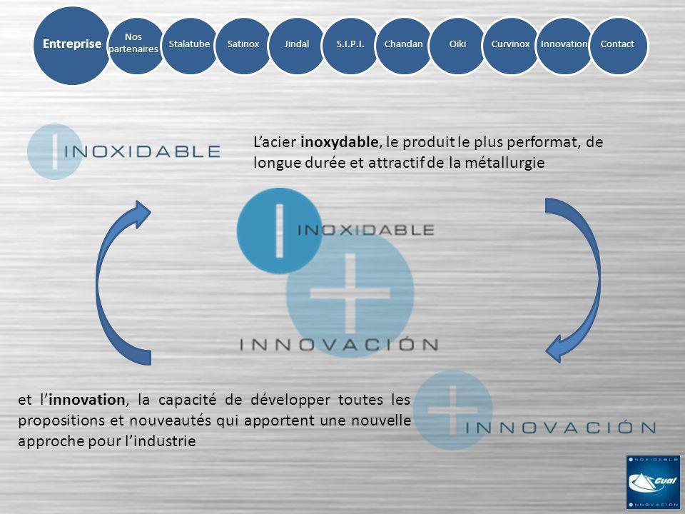 Nos partenaires StalatubeSatinoxJindalS.I.P.I.ChandanOikiCurvinoxInnovation Entreprise Contact Lacier inoxydable, le produit le plus performat, de lon