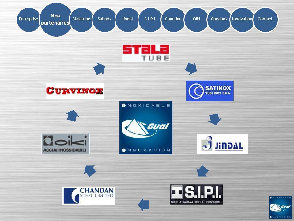 Entreprise Nos partenaires SatinoxJindalS.I.P.I.ChandanOikiCurvinoxInnovation Stalatube Contact TUBE CARRÉ: de 20x20x1,2 jusquà 300x300x12,5 TUBE RECTANGULAIRE: jusquà 400x200x12,5 TUBE FER PLAT: de 50x10x1,5 jusquà 100x20x2 Nuances 304, 304L, 316L, 316Ti et duplex Fabricant de tube en inoxydable depuis 1972 Produit les mesures les plus grandes du marché Tube structurel et haute fréquence HF Finition stalazzo (léger emerisé) de série Certificats ISO 9001 et ISO 14001 (Environnement)