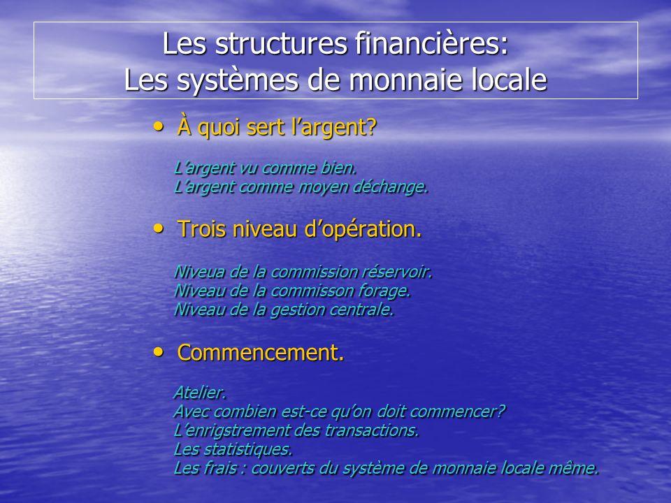 Les structures financières: Les systèmes de monnaie locale À quoi sert largent? À quoi sert largent? Largent vu comme bien. Largent vu comme bien. Lar