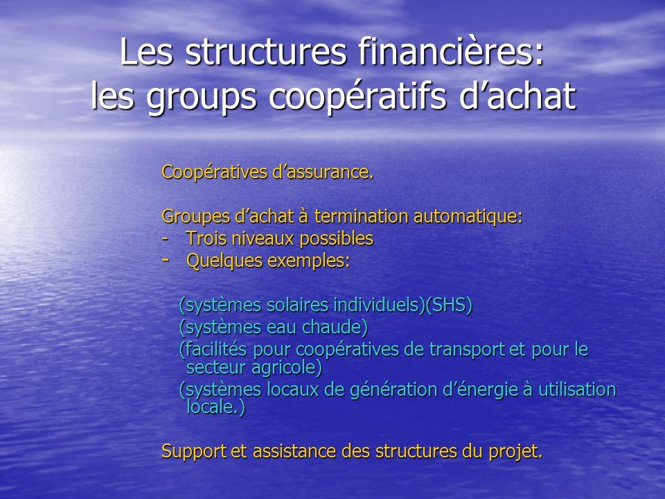 Les structures financières: les groups coopératifs dachat Coopératives dassurance. Groupes dachat à termination automatique: - Trois niveaux possibles