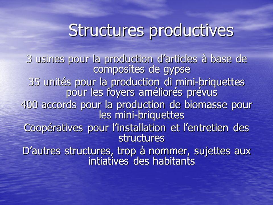 Structures productives Structures productives 3 usines pour la production darticles à base de composites de gypse 35 unités pour la production di mini