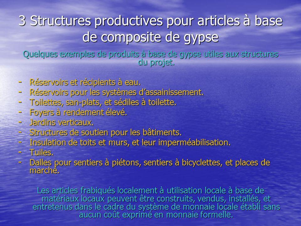 3 Structures productives pour articles à base de composite de gypse Quelques exemples de produits à base de gypse utiles aux structures du projet.