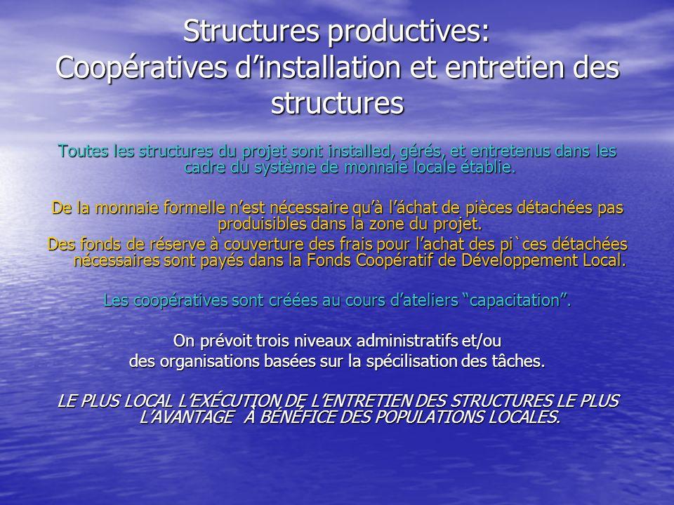 Structures productives: Coopératives dinstallation et entretien des structures Toutes les structures du projet sont installed, gérés, et entretenus dans les cadre du système de monnaie locale établie.