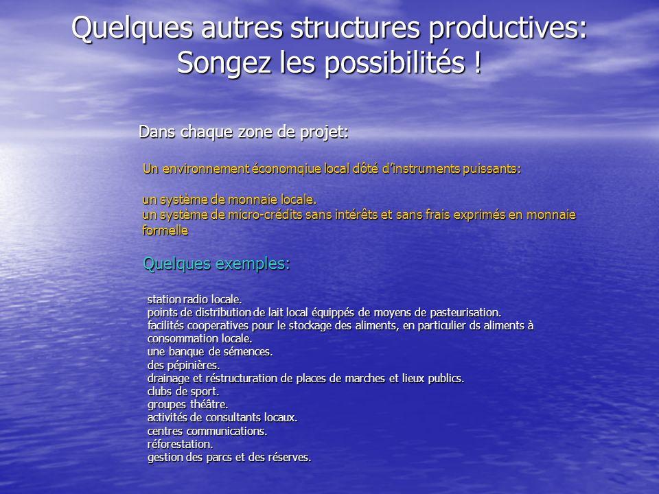 Quelques autres structures productives: Songez les possibilités ! Quelques autres structures productives: Songez les possibilités ! Dans chaque zone d