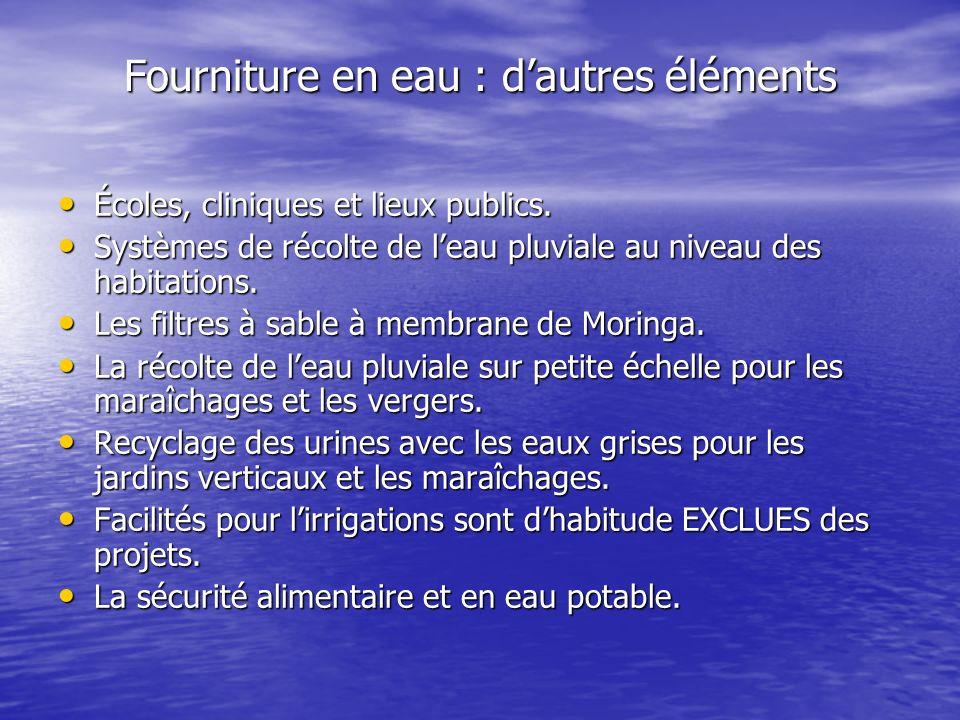 Fourniture en eau : dautres éléments Écoles, cliniques et lieux publics.