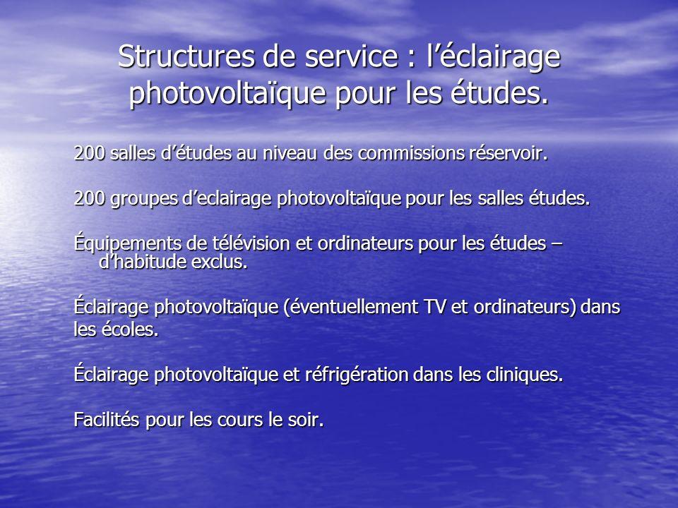 Structures de service : léclairage photovoltaïque pour les études.