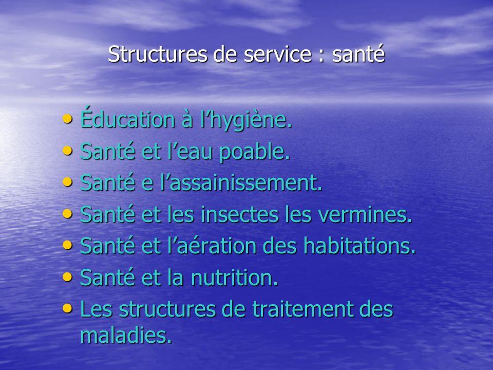 Structures de service : santé Éducation à lhygiène. Éducation à lhygiène. Santé et leau poable. Santé et leau poable. Santé e lassainissement. Santé e