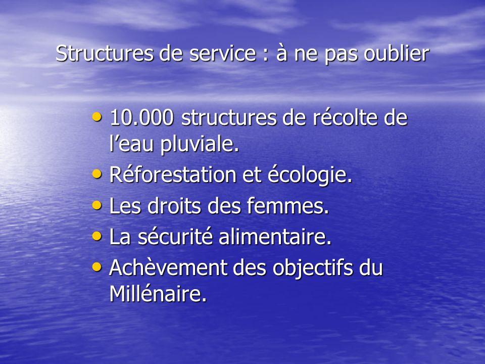 Structures de service : à ne pas oublier 10.000 structures de récolte de leau pluviale. 10.000 structures de récolte de leau pluviale. Réforestation e