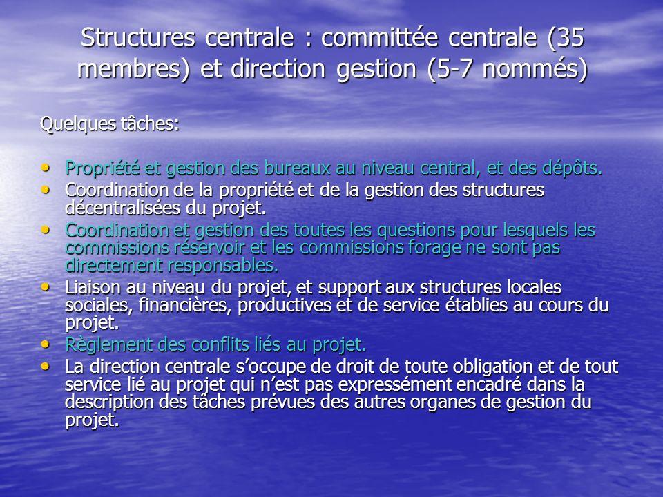Structures centrale : committée centrale (35 membres) et direction gestion (5-7 nommés) Quelques tâches: Propriété et gestion des bureaux au niveau ce