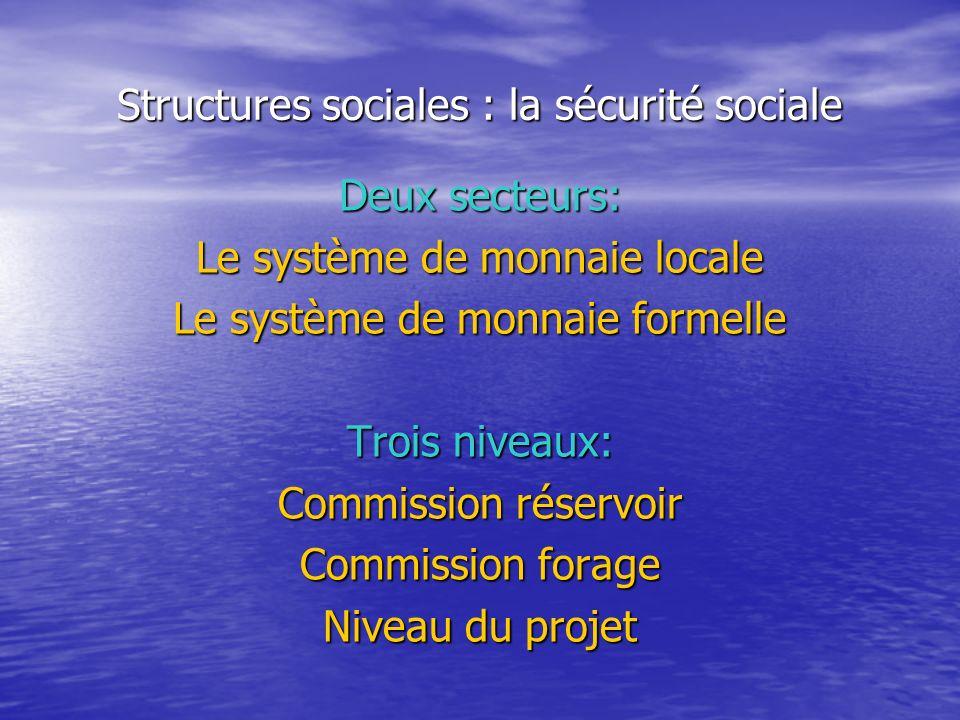 Structures sociales : la sécurité sociale Deux secteurs: Le système de monnaie locale Le système de monnaie formelle Trois niveaux: Commission réservoir Commission forage Niveau du projet