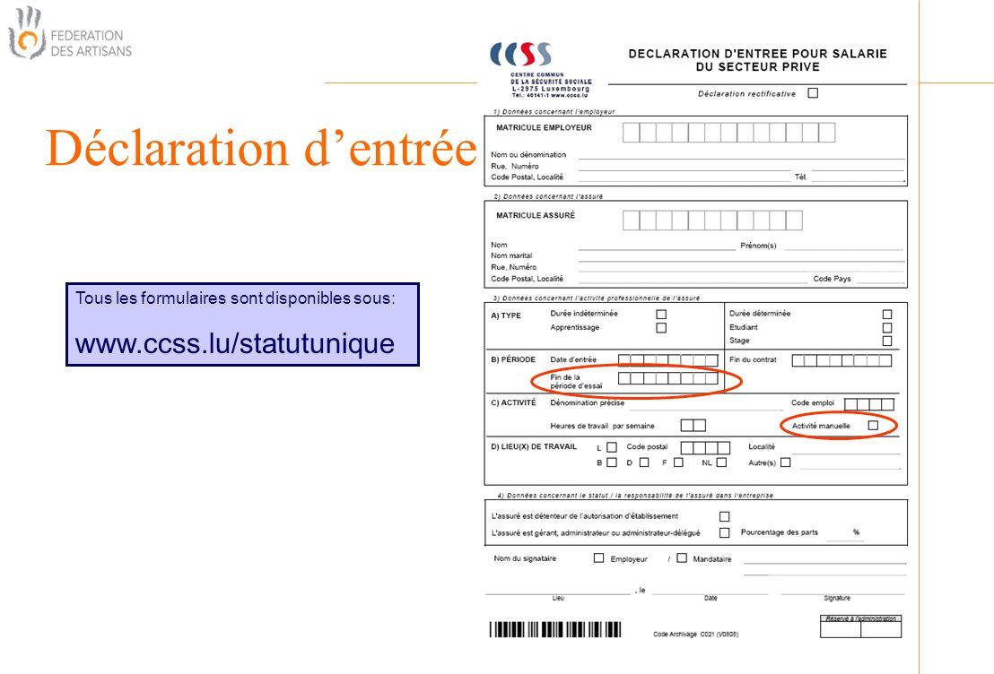 Déclaration dentrée Organisation Tous les formulaires sont disponibles sous: www.ccss.lu/statutunique