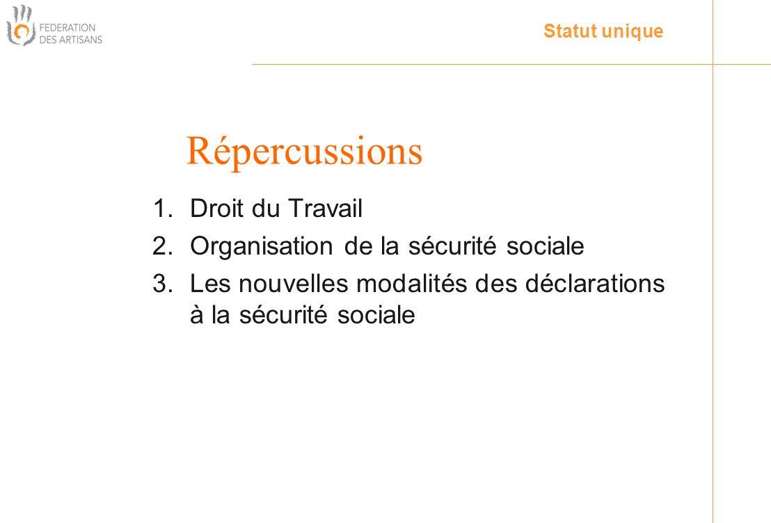 1.Droit du Travail 2.Organisation de la sécurité sociale 3.Les nouvelles modalités des déclarations à la sécurité sociale Statut unique Répercussions