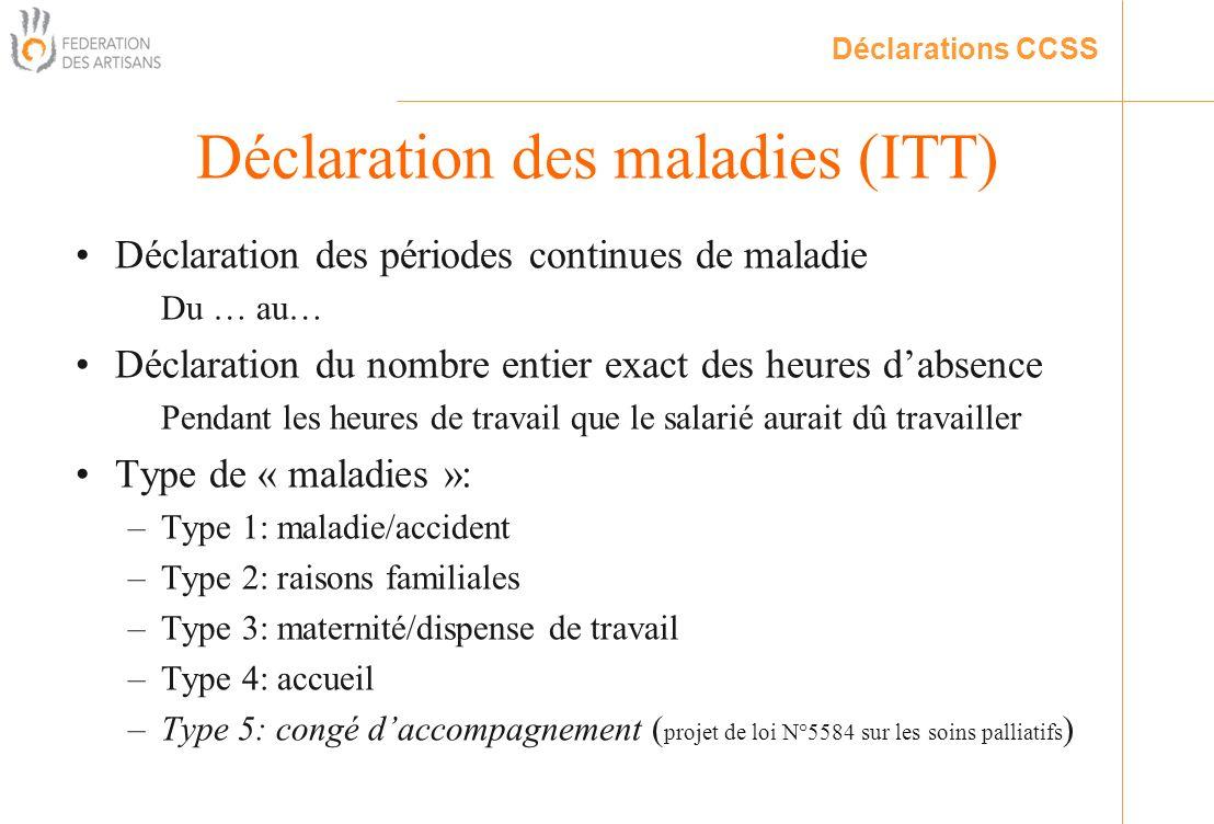 Déclaration des périodes continues de maladie Du … au… Déclaration du nombre entier exact des heures dabsence Pendant les heures de travail que le sal