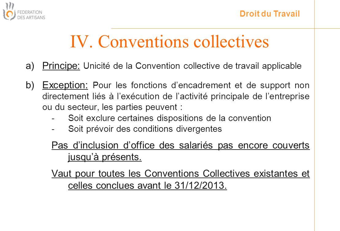 a)Principe: Unicité de la Convention collective de travail applicable b)Exception: Pour les fonctions dencadrement et de support non directement liés
