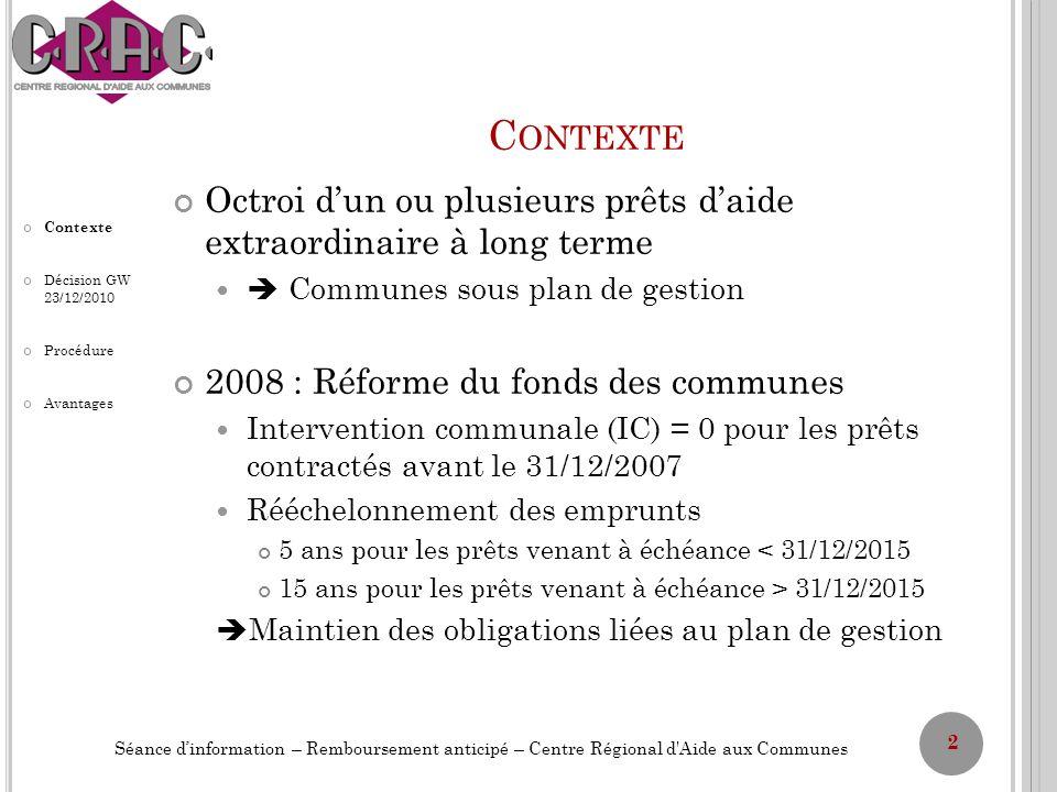 C ONTEXTE Intérêt pour la Wallonie de voir les Communes rembourser afin dalléger sa charge de dette Accélération de lenrôlement de lIPP Augmentation du nombre de comptes se trouvant en boni Crise financière et économique : solutions pour trouver des nouvelles mesures de gestion Gestion active de la dette « Opération Furlan » en 2010 et en partie en 2011 (Décision du 21 janvier 2010) 3 Séance dinformation – Remboursement anticipé – Centre Régional d Aide aux Communes Contexte Décision GW 23/12/2010 Procédure Avantages