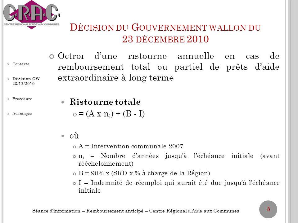 D ÉCISION DU G OUVERNEMENT WALLON DU 23 DÉCEMBRE 2010 Ristourne annuelle Jusquà léchéance initiale = A + (B – I) n f Jusquà léchéance finale = (B – I) n f où A = Intervention communale 2007 n i = Nombre dannées jusquà léchéance initiale (avant rééchelonnement) B = 90% x (SRD x % à charge de la Région) I = Indemnité de réemploi qui aurait été due jusquà léchéance initiale n f = Nombre dannées jusquà léchéance finale (après rééchelonnement) 6 Séance dinformation – Remboursement anticipé – Centre Régional d Aide aux Communes Contexte Décision GW 23/12/2010 Procédure Avantages