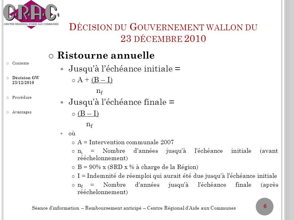 D ÉCISION DU G OUVERNEMENT WALLON DU 23 DÉCEMBRE 2010 Ristourne annuelle Jusquà léchéance initiale = A + (B – I) n f Jusquà léchéance finale = (B – I)
