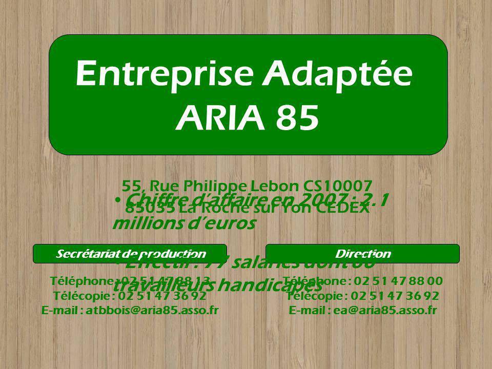 55, Rue Philippe Lebon CS10007 85035 La Roche sur Yon CEDEX Entreprise Adaptée ARIA 85 Téléphone : 02 51 47 88 00 Télécopie : 02 51 47 36 92 E-mail :