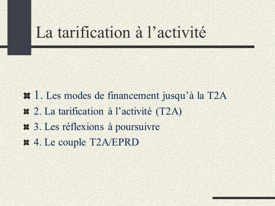 La tarification à lactivité 1. Les modes de financement jusquà la T2A 2. La tarification à lactivité (T2A) 3. Les réflexions à poursuivre 4. Le couple